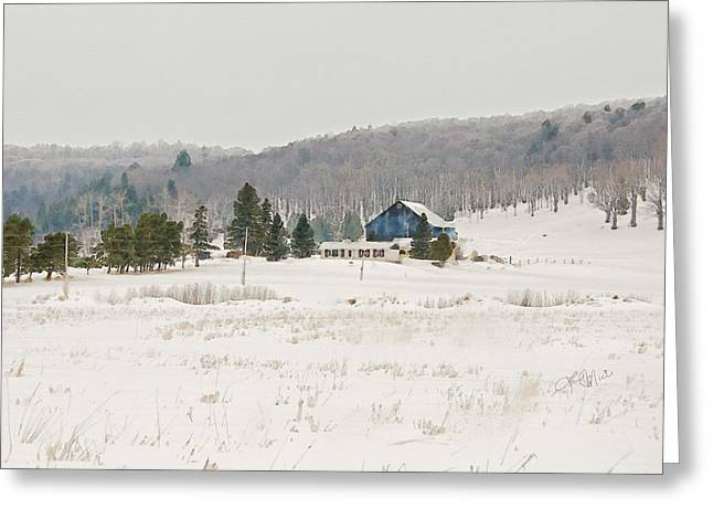Winter Photos Mixed Media Greeting Cards - Country Farm in Winter Greeting Card by Linda Muir