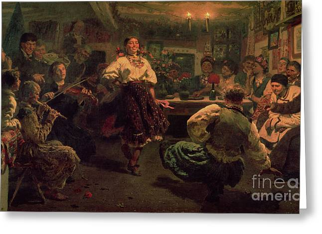 Folk Dancing Greeting Cards - Country Festival Greeting Card by Ilya Efimovich Repin