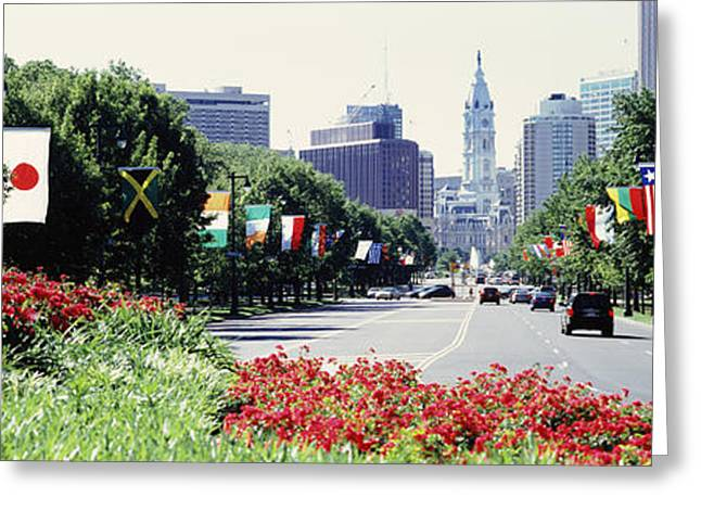 Martin County Greeting Cards - Country Flags On Trees Along Martin Greeting Card by Panoramic Images