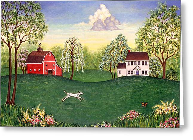 Barn Greeting Cards - Country Frolic One Greeting Card by Linda Mears