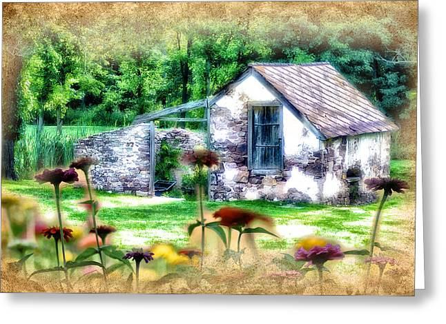 Shed Digital Art Greeting Cards - Country Garden Greeting Card by Bill Cannon