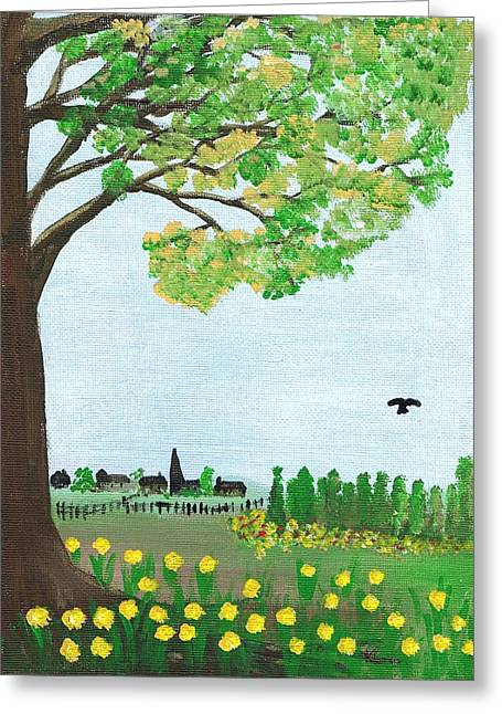 Recently Sold -  - Hovering Greeting Cards - Country Garden in Springtime Greeting Card by Karen J Jones