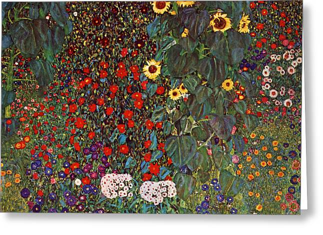 Sunset Posters Greeting Cards - Country Garden with Sunflowers Greeting Card by Gustav Klimt