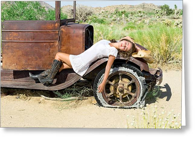 Carefree Cowboy Greeting Cards - Country girl Greeting Card by Joe Belanger