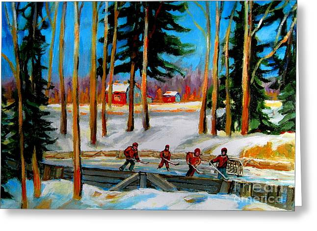 Montreal Hockey Scenes Greeting Cards - Country Hockey Rink Greeting Card by Carole Spandau