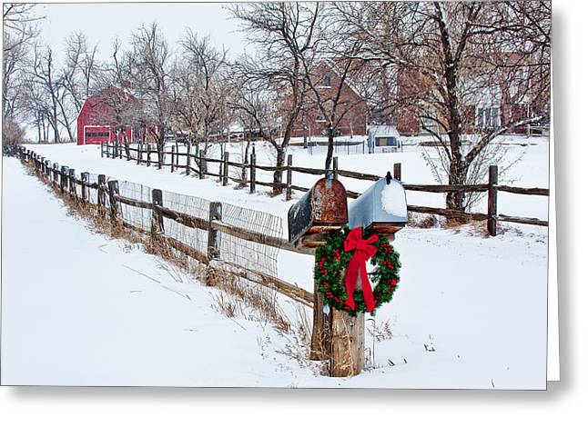 Red Barn Greeting Cards - Country Holiday Cheer Greeting Card by Teri Virbickis