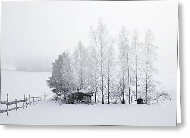 Hunting Cabin Greeting Cards - COUNTRY HOME for WINTER Greeting Card by Daniel Hagerman