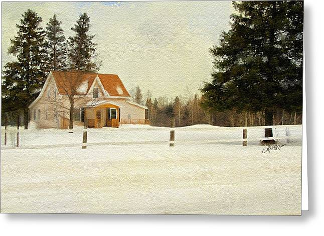 Winter Photos Mixed Media Greeting Cards - Country Home in Winter Greeting Card by Linda Muir