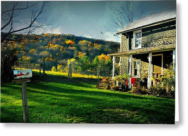 Autumn In The Country Greeting Cards - Country Home Style Greeting Card by Diana Angstadt
