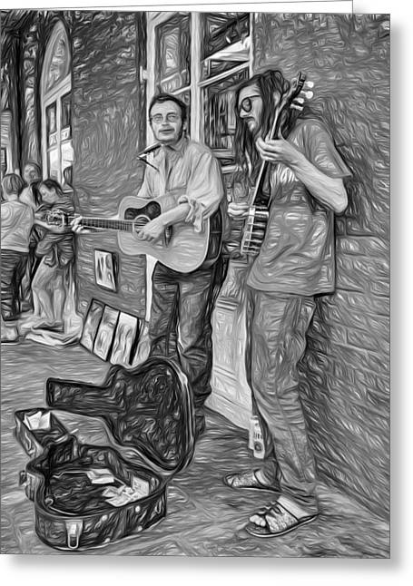 Guitar Case Greeting Cards - Country in the French Quarter - Paint bw Greeting Card by Steve Harrington