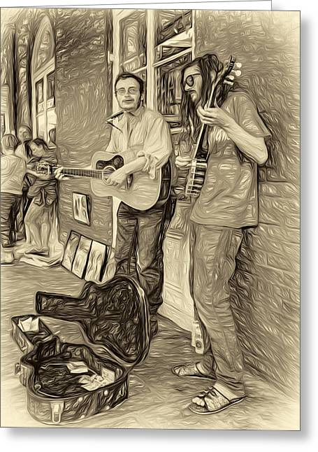 Guitar Case Greeting Cards - Country in the French Quarter - Paint sepia Greeting Card by Steve Harrington