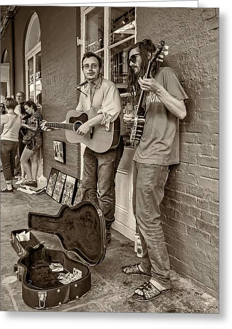 Guitar Case Greeting Cards - Country in the French Quarter sepia Greeting Card by Steve Harrington