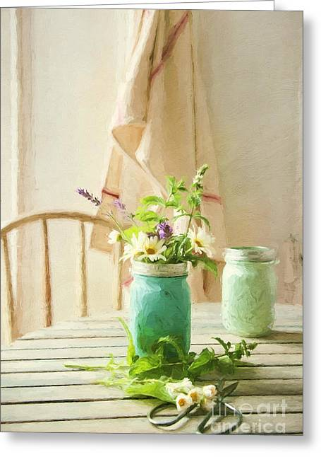 """""""indoor"""" Still Life Digital Art Greeting Cards - Country kitchen with wild flowers in jar/ digital painting Greeting Card by Sandra Cunningham"""