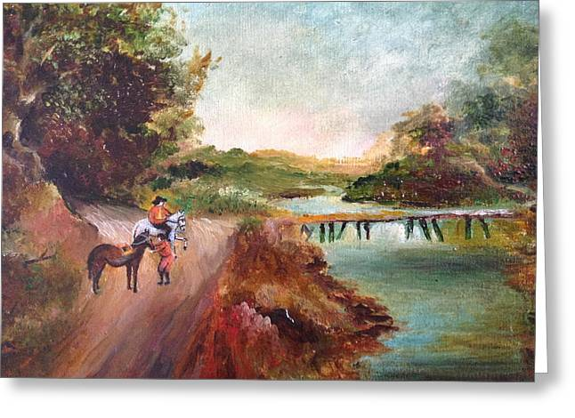 Landscape With A Road Greeting Cards - Country Landscape Greeting Card by Egidio Graziani