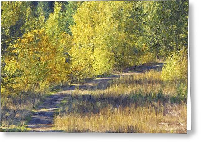 Fall Trees Mixed Media Greeting Cards - Country Lane digital oil painting Greeting Card by Sharon  Talson