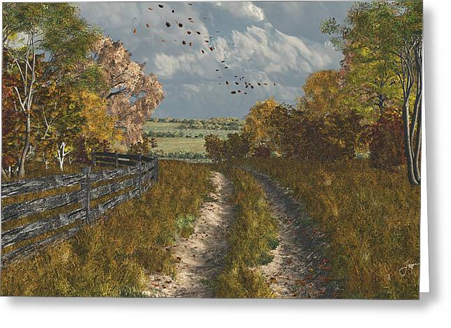 Turning Leaves Digital Art Greeting Cards - Country Lane in Fall Greeting Card by Jayne Wilson