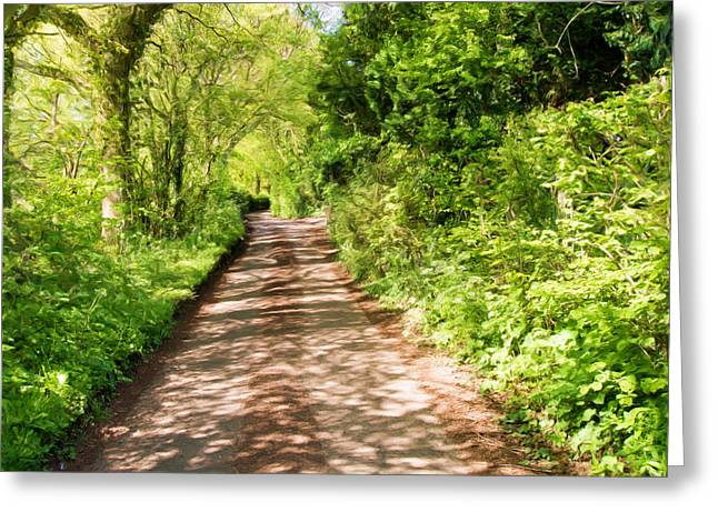 Dappled Light Mixed Media Greeting Cards - Country Lane Painting Greeting Card by Roy Pedersen