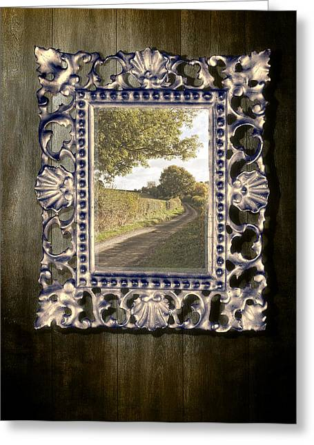Surreal Landscape Photographs Greeting Cards - Country Lane Reflected In Mirror Greeting Card by Amanda And Christopher Elwell