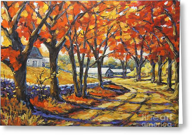 Autumn Scenes Greeting Cards - Country Lane Sentinals  created by Prankearts Greeting Card by Richard T Pranke