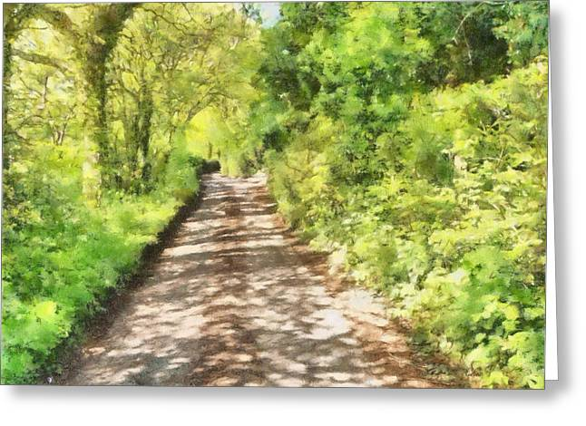 Dappled Light Mixed Media Greeting Cards - Country lane Watercolour Greeting Card by Roy Pedersen
