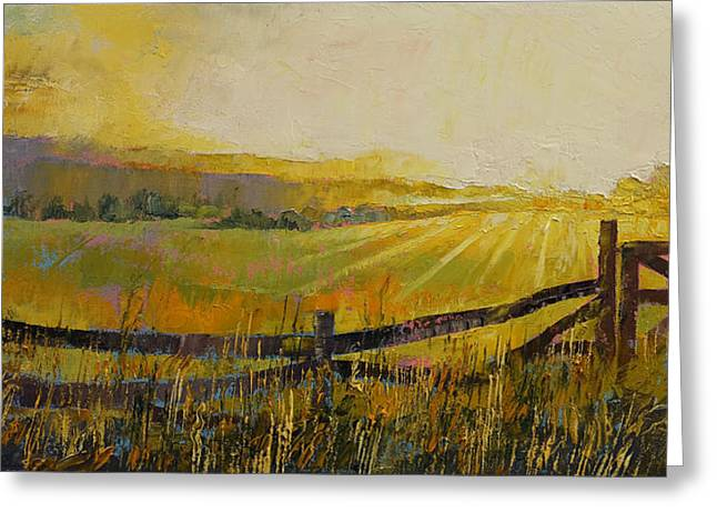 Granja Greeting Cards - Country Meadow Greeting Card by Michael Creese