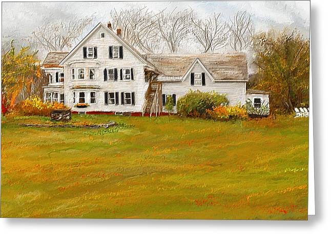 Farm Scenes Greeting Cards - Country Moments-Farmhouse in Woodstock Vermont Greeting Card by Lourry Legarde