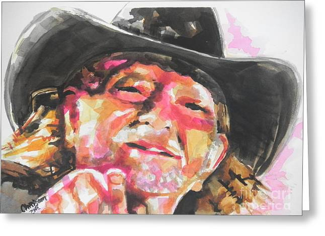 Country Music Artist...willie Nelson Greeting Card by Chrisann Ellis