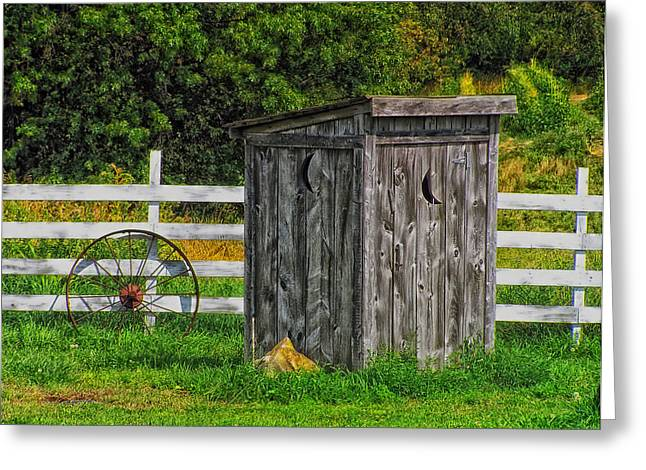 Wooden Outhouse Greeting Cards - Country Outhouse Greeting Card by Mountain Dreams