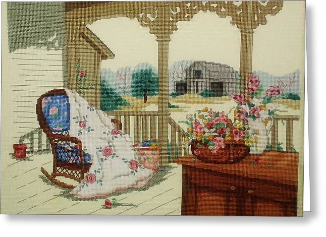 Rocking Chairs Mixed Media Greeting Cards - Country Porch Greeting Card by Priscilla Pekas