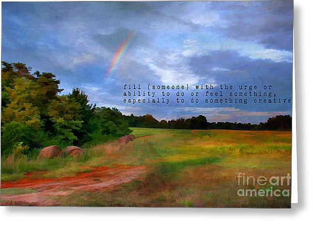 Hay Bales Greeting Cards - Country Rainbow Greeting Card by Darren Fisher