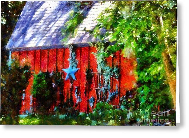 Star Barn Greeting Cards - Country Red Barn Star Greeting Card by Janine Riley