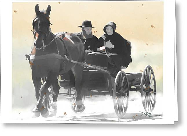 Amish Farms Digital Art Greeting Cards - Country Ride Greeting Card by Bob Salo