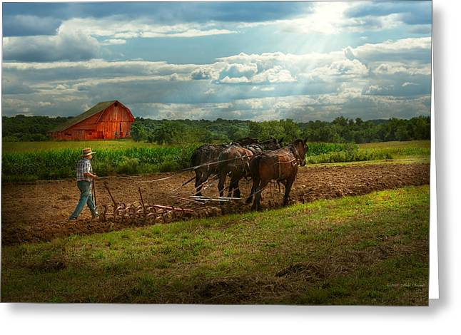 Amish Scenes Greeting Cards - Country - Ringoes NJ - Preparing for crops Greeting Card by Mike Savad