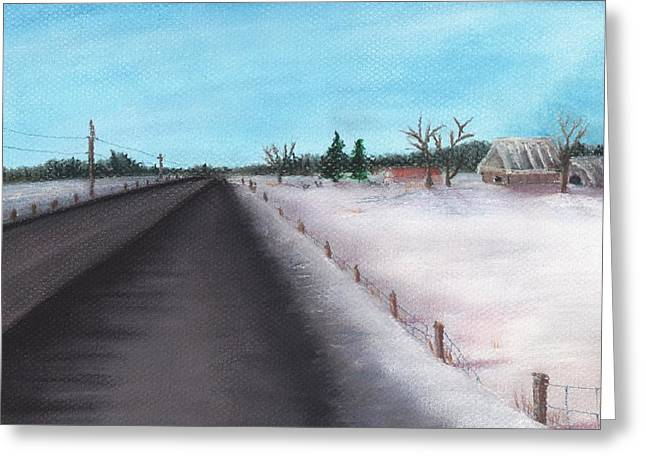 Winter Road Scenes Pastels Greeting Cards - Country Road Greeting Card by Anastasiya Malakhova