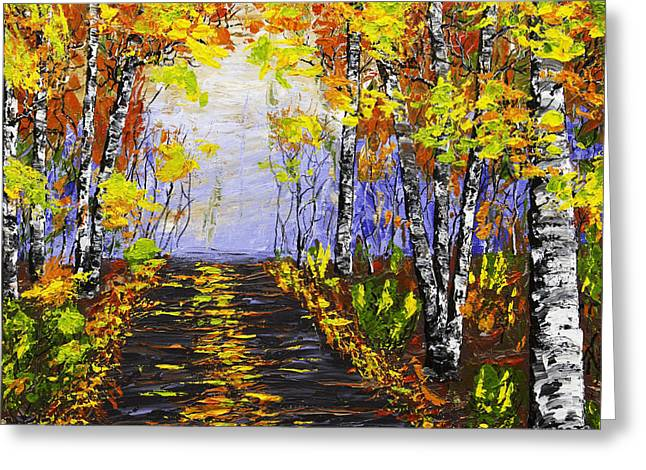 Nature Scene Paintings Greeting Cards - Country Road And Birch Trees In Fall Greeting Card by Keith Webber Jr