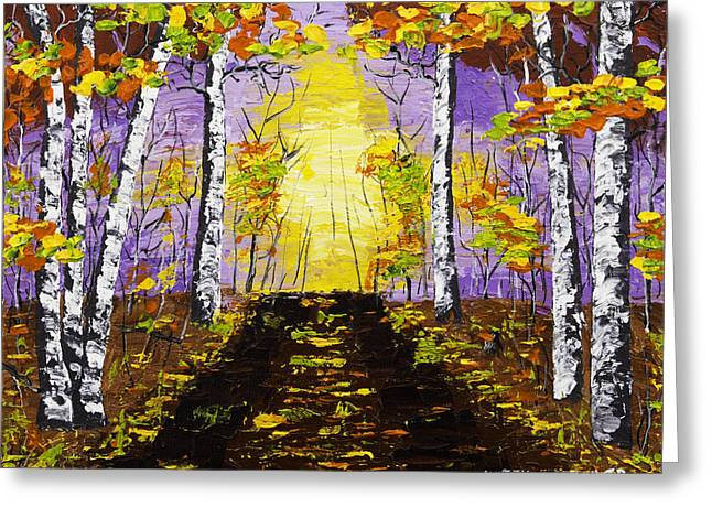 Painted Wood Paintings Greeting Cards - Country Road And Coloful Birch Trees In Fall Greeting Card by Keith Webber Jr