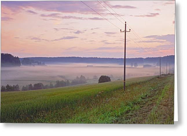 Telephone Poles Greeting Cards - Country Road And Telephone Lines Greeting Card by Panoramic Images