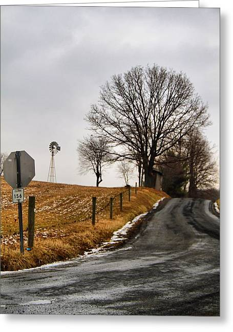 Amish Country Greeting Cards - Country Road And Windmill In Ohio Greeting Card by Dan Sproul