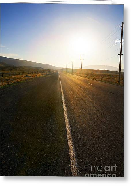 Sinrise Greeting Cards - Country Road at Sunset Greeting Card by Stella Levi