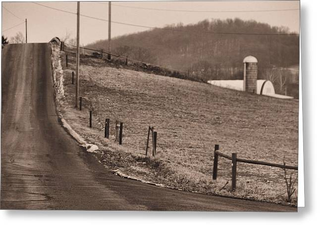 Old Country Roads Greeting Cards - Country Road Greeting Card by Dan Sproul