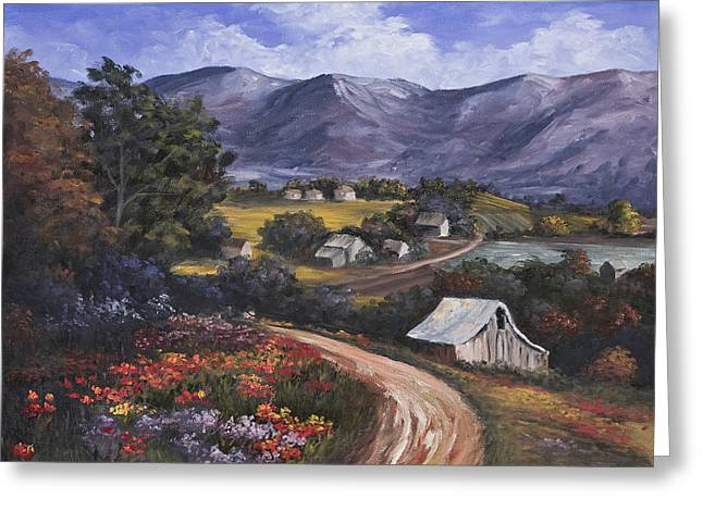 Old Country Roads Paintings Greeting Cards - Country Road Greeting Card by Darice Machel McGuire