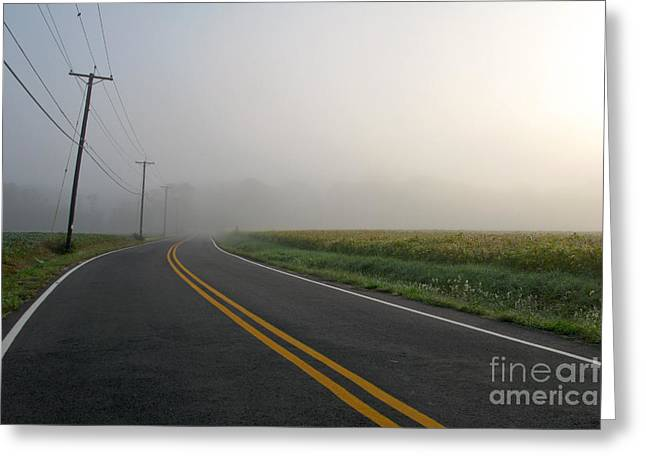 Diffused Greeting Cards - Country Road in Fog Greeting Card by Olivier Le Queinec