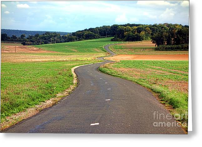 Rural Road Greeting Cards - Country Road in France Greeting Card by Olivier Le Queinec