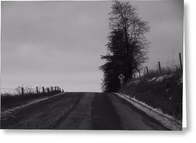 Path In Life Greeting Cards - Country Road In Winter Greeting Card by Dan Sproul