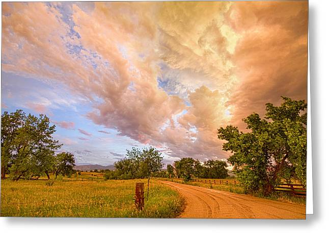 Storm Prints Photographs Greeting Cards - Country Road Into The Storm Front Greeting Card by James BO  Insogna