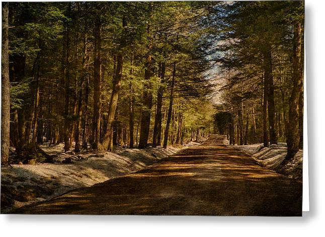 Pamela Phelps Greeting Cards - Country Road Journey-Textured Photography Greeting Card by Pamela Phelps