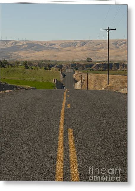 Yellow Line Photographs Greeting Cards - Country Road Greeting Card by Juli Scalzi