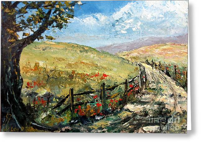 Lee Piper Art Greeting Cards - Country Road Greeting Card by Lee Piper