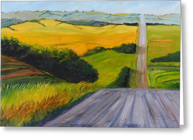 Mid Summer Morning Greeting Cards - Country Road Greeting Card by Nancy Merkle