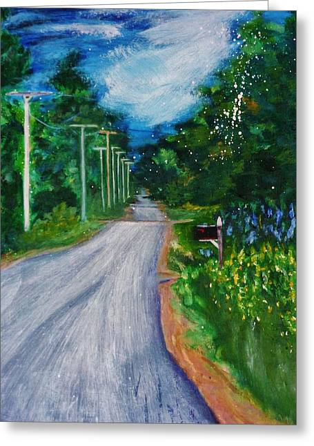 Rural Maine Roads Paintings Greeting Cards - Country Road Greeting Card by Nancy Milano